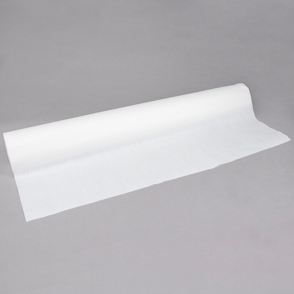 "40"" x 300' 17# White Embossed Paper Roll Table Cover"