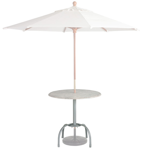 Case of 20 Grosfillex US528109 / 99528109 Silver Gray Bar Height Tulip Table Base with Umbrella Hole Main Image 1