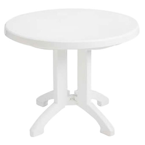 "Grosfillex US146004 38"" White Vega Round Resin Folding Outdoor Table - 14/Case"