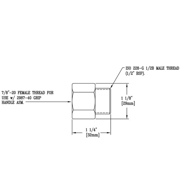 """T&S 005221-25 Adapter with 7/8""""-20 and 1/2"""" Female Connections"""