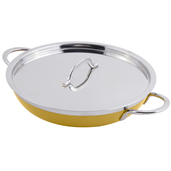 Bon Chef 60305 Classic Country French Collection 2 Qt. 12 oz. Yellow Saute Pan / Skillet with Cover and Double Handles