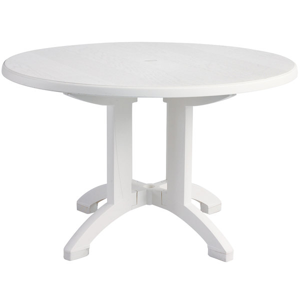 White Round Resin Pedestal Outdoor Table Main Picture Image Preview