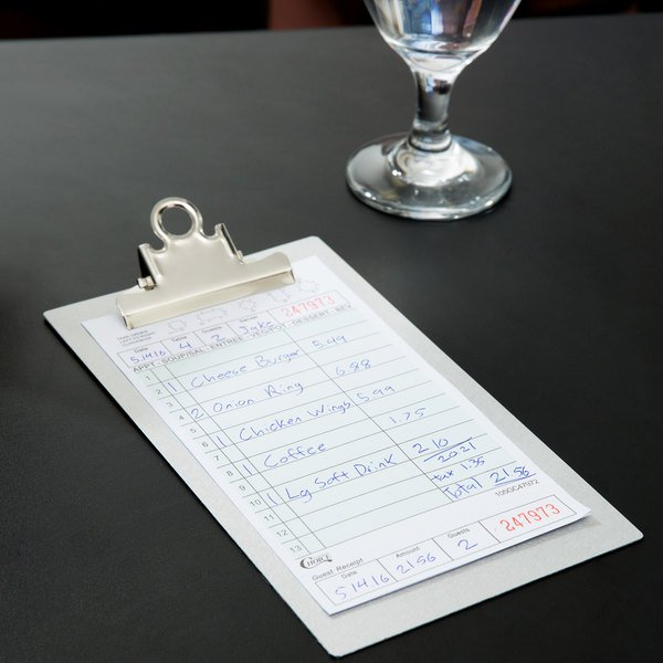 Choice 2 Part Green and White Carbonless Guest Check with Beverage Lines and Bottom Guest Receipt - 250/Pack