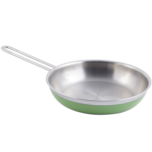 Bon Chef 60308 Classic Country French Collection 2 Qt. 12 oz. Green Saute Pan / Skillet with 1 Long Handle