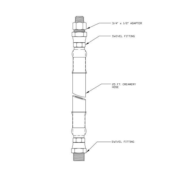 """T&S 004989-40 25' Hose Assembly with 3/4"""" NPT and 1/2"""" NPT Male Connections"""