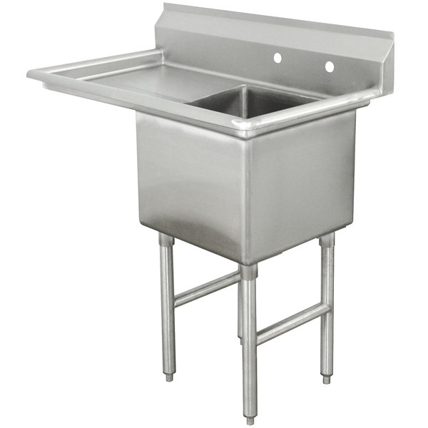 """Left Drainboard Advance Tabco FC-1-1824-24 One Compartment Stainless Steel Commercial Sink with One Drainboard - 45"""""""