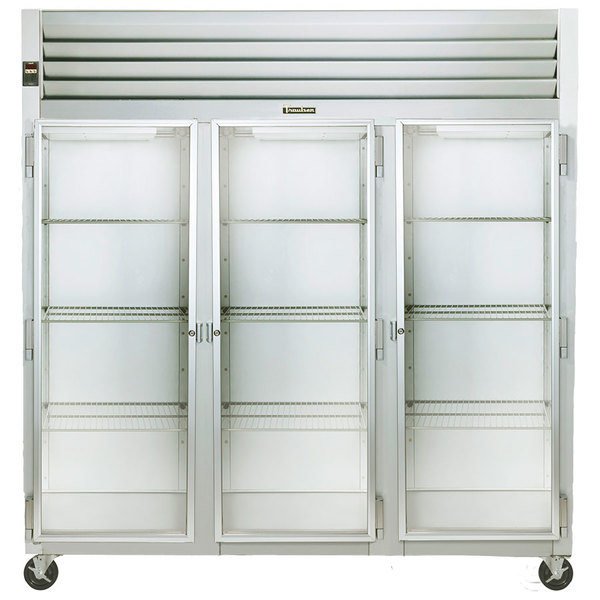Traulsen G32010 3 Section Glass Door Reach In Refrigerator - Left / Right / Right Hinged Doors Main Image 1