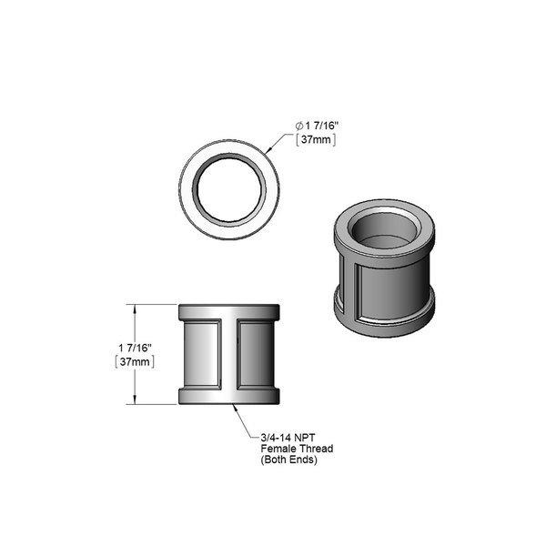 """T&S 004710-25 Chrome Plated Coupling with 3/4"""" NPT Female Connections"""
