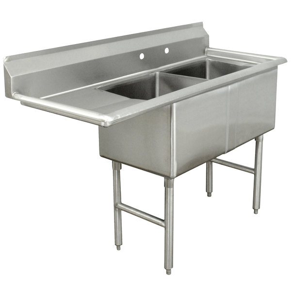 Left Drainboard Advance Tabco FC-2-1824-18 Two Compartment Stainless Steel Commercial Sink with One Drainboard - 56 1/2""