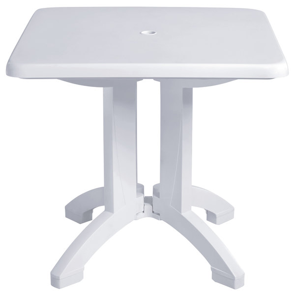 "Grosfillex US810004 Vega 32"" Square Resin Folding Outdoor Table with Umbrella Hole - White - 12/Case"