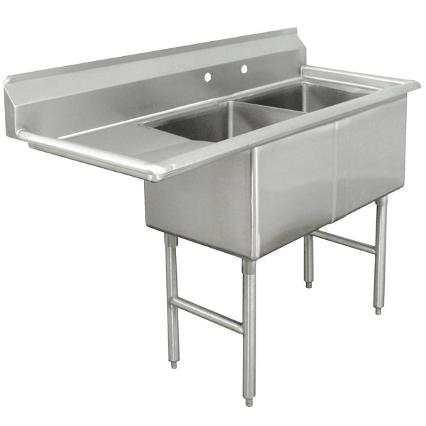 Left Drainboard Advance Tabco FC-2-2424-24 Two Compartment Stainless Steel Commercial Sink with One Drainboard - 74 1/2""