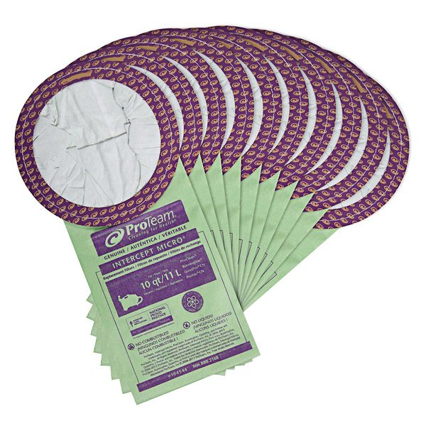 ProTeam 104544 Intercept Vacuum Bags for 10 Qt. Canister Vacuums - 10/Pack Main Image 1