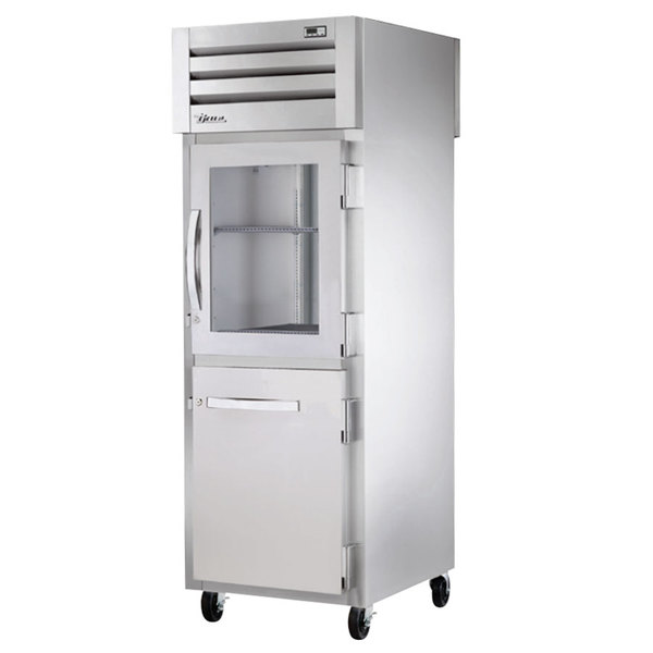 True STR1RPT-1HG/1HS-1S Specification Series One Section Pass-Through Refrigerator with Glass and Solid Half Front Doors and Solid Full Rear Doors