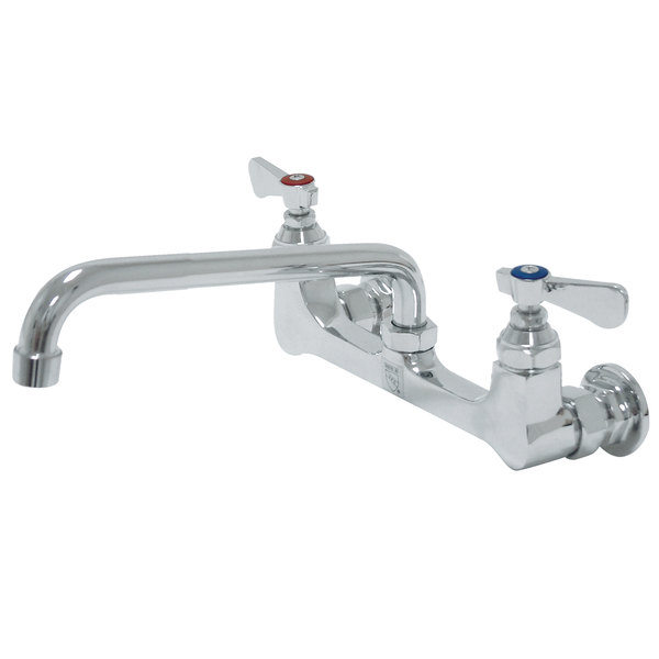 """Advance Tabco K-112 Wall-Mount Faucet with 8"""" Centers - 12"""" Swing Nozzle"""
