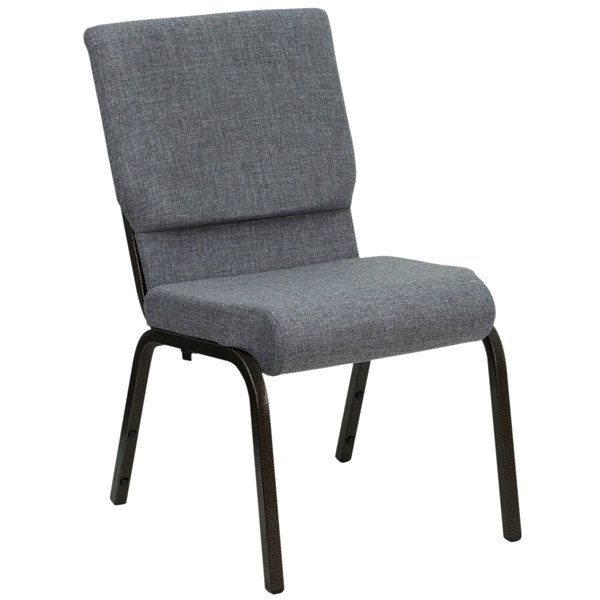"Flash Furniture XU-CH-60096-BEIJING-GY-GG Gray 18 1/2"" Wide Church Chair with Gold Vein Frame"