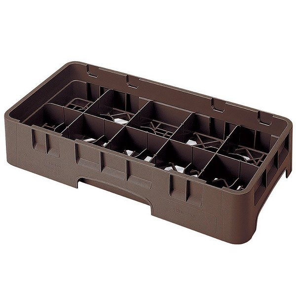 """Cambro 10HS318167 Brown Camrack 10 Compartment 3 5/8"""" Half Size Glass Rack"""