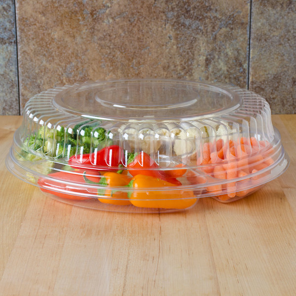 """Fineline Platter Pleasers 9201-LL 12"""" Clear PET Plastic Round Low Dome Lid - 25/Case Main Image 8"""