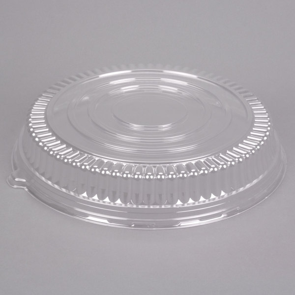Fineline Platter Pleasers 9601-LL 16 inch Clear PET Plastic Round Low Dome Lid - 25/Case