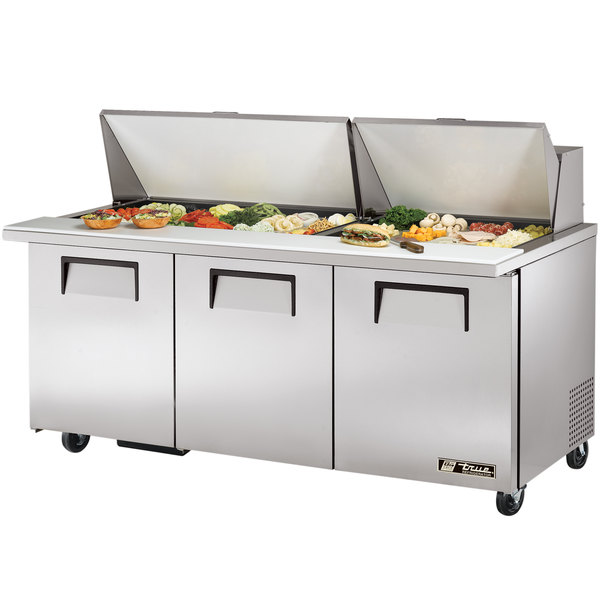 True TSSU-72-30M-B-ST 72 inch Mega Top Three Door Sandwich / Salad Prep Refrigerator