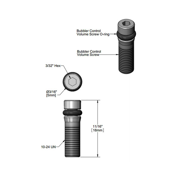 T&S 012697-45 Bubbler Volume Control Screw and O-Ring