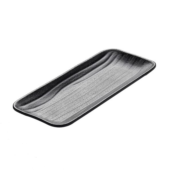 "Elite Global Solutions JW5411 Zen 10 7/8"" x 4 5/8"" Black Rectangular Wave Tray - 6/Case"