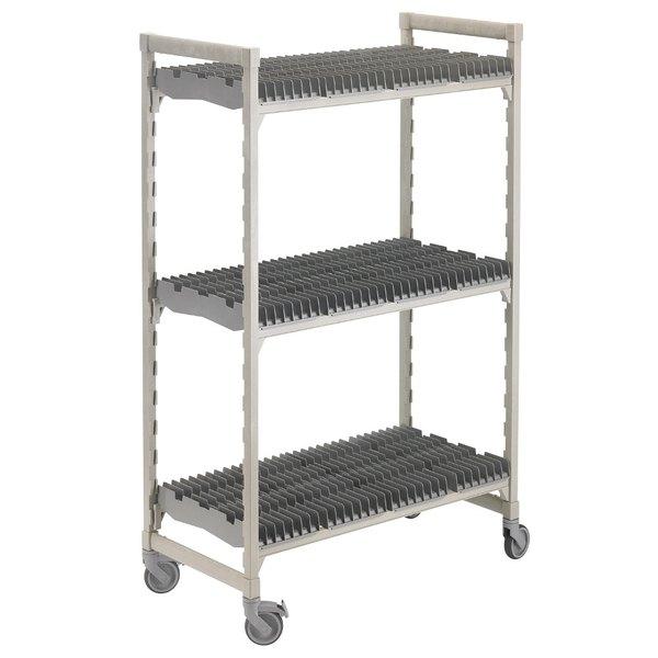 "Cambro CPMU244875DRPKG Camshelving® Premium Speckled Gray Drying Rack Cart 24"" x 48"" x 75"""