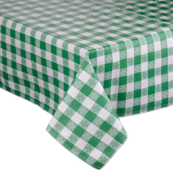 """72"""" x 72"""" Green-Checkered Vinyl Table Cover with Flannel Back"""