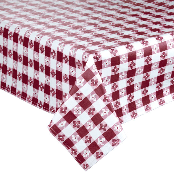 "72"" x 72"" Burgundy-Checkered Vinyl Table Cover with Flannel Back"