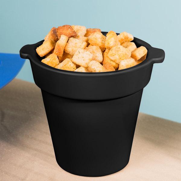 Tablecraft CW1440 1.75 Qt. Round Black Condiment Crock / Bowl