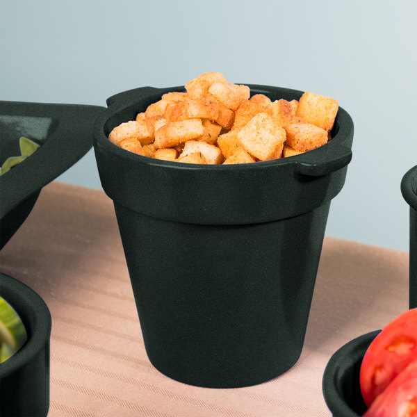 Tablecraft CW1440 1.75 Qt. Round Black with Green Speckle Condiment Crock / Bowl