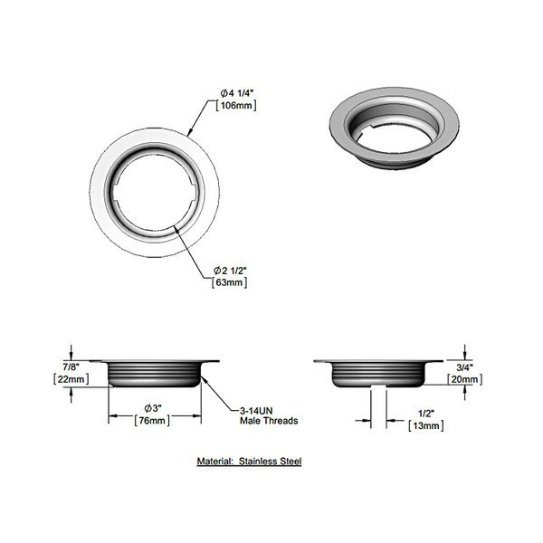 "T&S 015306-45 3"" Stainless Steel Flanged Waste Drain Face Main Image 1"