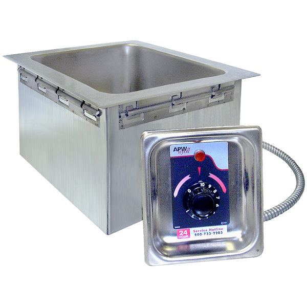 APW Wyott HFW-23D 2/3 Size Insulated One Pan Drop In Hot Food Well with Drain - 120V