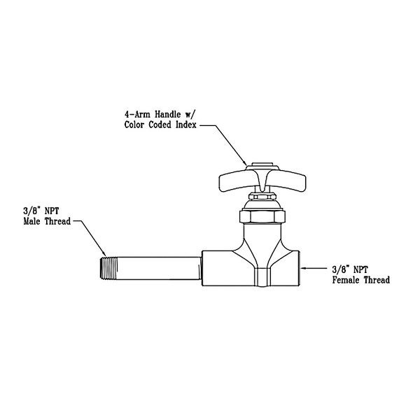 T&S 016094-40 Straight Stop and Nipple for BL-6050-01 Faucet