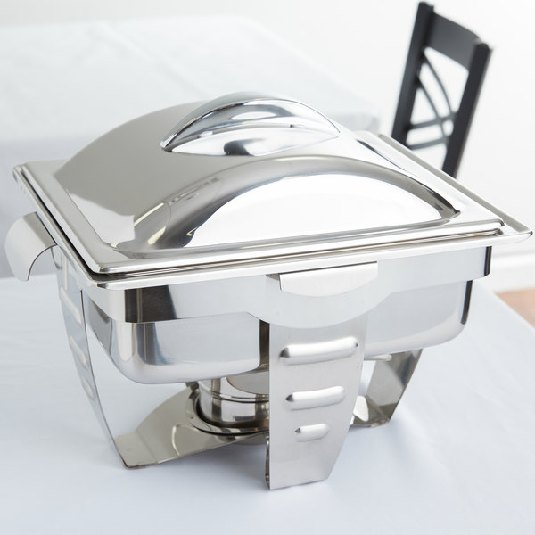 Vollrath 49529 4.1 Qt. Maximillian Rectangular Chafer Half Size with  Stainless Steel Accents