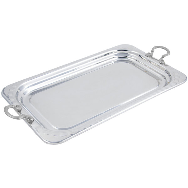 """Bon Chef 5607HRSS 22"""" x 14"""" x 1"""" Stainless Steel 4.5 Qt. Full Size Rectangular Arches Design Food Pan with Round Stainless Steel Handles"""