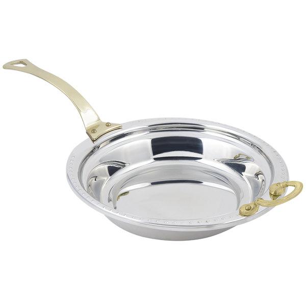 "Bon Chef 5355HL 13"" x 12"" x 3"" Stainless Steel 2.5 Qt. Bolero Design Casserole Food Pan with Long Brass Handle"