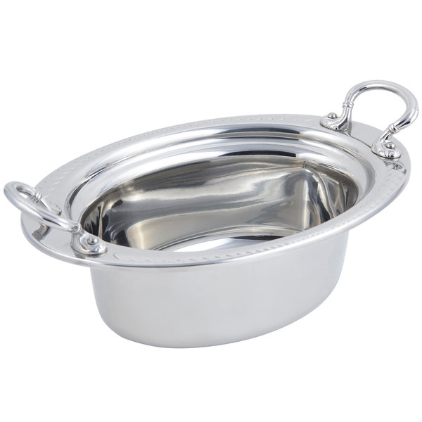 """Bon Chef 5403HRSS 13"""" x 9"""" x 5"""" Stainless Steel 3.75 Qt Full Size Oval Laurel Design Food Pan with Round Stainless Steel Handles"""