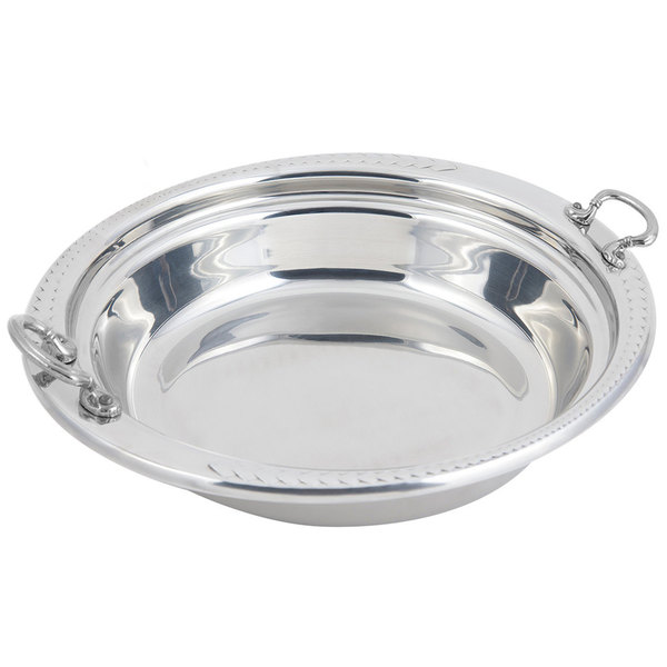 """Bon Chef 5455HRSS 13"""" x 12"""" x 3"""" Stainless Steel 2.5 Qt. Casserole Laurel Design Food Pan with Round Stainless Steel Handles"""