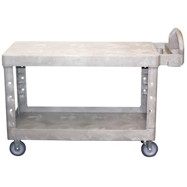 Rubbermaid FG454500BEIG Beige Large Two Flat Shelf Utility Cart