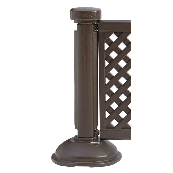 Grosfillex US960423 Resin Fence Post and Interlocking Base - Brown Main Image 1