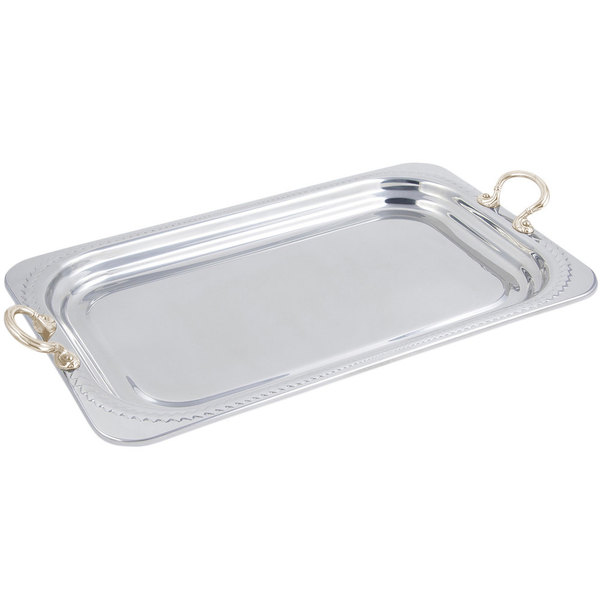 "Bon Chef 5407HR 22"" x 14"" x 1"" Stainless Steel 4.5 Qt. Full Size Rectangular Laurel Design Food Pan with Round Brass Handles"