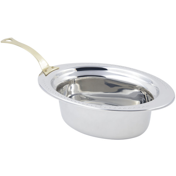 """Bon Chef 5303HL 13"""" x 9"""" x 5"""" Stainless Steel 3.75 Qt. Full Size Oval Bolero Design Food Pan with Long Brass Handle"""