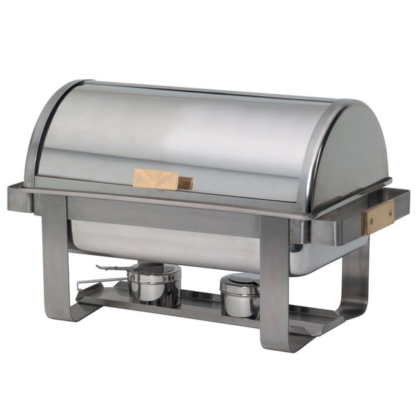 American Metalcraft MACD3 8 Qt. Stainless Steel Rectangular Roll-Top Chafer