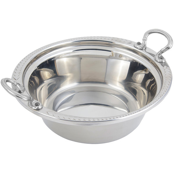 """Bon Chef 5456HRSS 13"""" x 12"""" x 4"""" Stainless Steel 4 Qt. Laurel Design Food Pan with Round Stainless Steel Handles"""