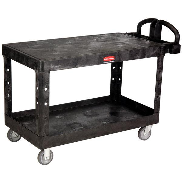Rubbermaid FG454500BLA Black Large Flat Two Flat Shelf Utility Cart with Ergonomic Handle Main Image 1