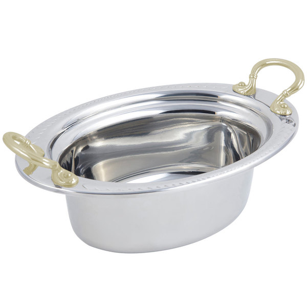 "Bon Chef 5403HR 13"" x 9"" x 5"" Stainless Steel 3.75 Qt. Full Size Oval Laurel Design Food Pan with Round Brass Handles"