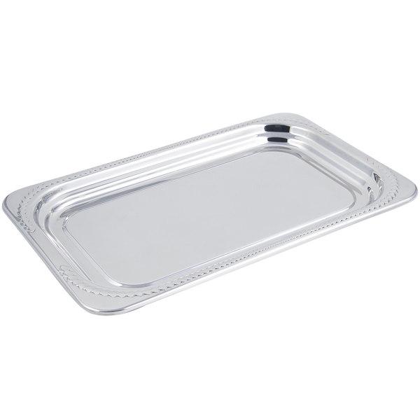 "Bon Chef 5407 22"" x 14"" x 1"" Stainless Steel 4.5 Qt. Full Size Rectangular Laurel Design Food Pan"