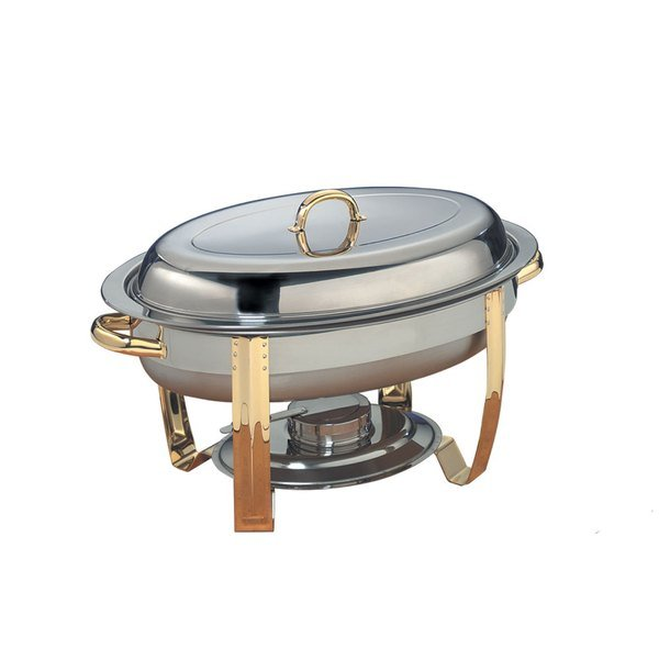 American Metalcraft ALLEGOV20 6 Qt. Allegro Gold Trim Oval Chafer Main Image 1