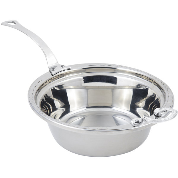 """Bon Chef 5656HLSS 13"""" x 12"""" x 4"""" Stainless Steel 4 Qt. Arches Design Casserole Food Pan with Long Stainless Steel Handle"""
