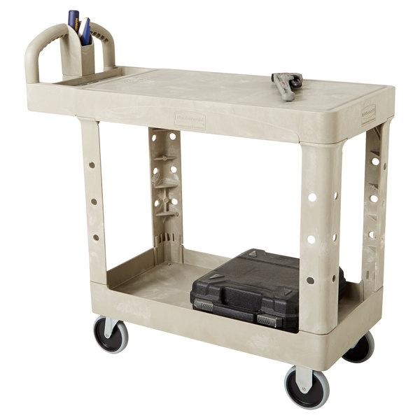 Rubbermaid FG450500BEIG Beige Small Two Flat Shelf Utility Cart